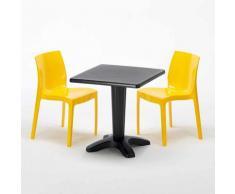 Tavolino Quadrato Nero 70x70 cm con 2 Sedie Colorate ICE AIA | Giallo