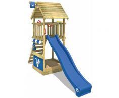 WICKEY Parco giochi in legno Smart Club Tetto in legno Giochi da giardino con scivolo blu Torre