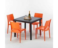 Tavolino Quadrato Nero 90x90 cm con 4 Sedie Colorate PARIS PASSION | Arancione