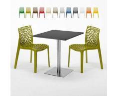 Tavolino Quadrato Nero 70x70 cm con 2 Sedie Colorate GRUVYER RUM RAISIN | Verde Anice