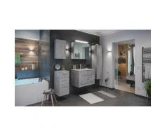 Set di mobili da bagno Firenze 80 (5 parti/C) grigio cemento ,armadio a specchio