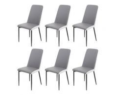Set 6x sedie sala da pranzo design moderno HWC-F26 ecopelle grigio