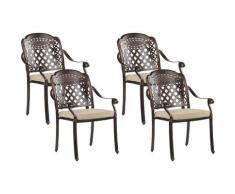Beliani - Set di 4 sedie da giardino alluminio marrone scuro MANFRIA