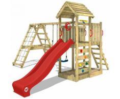 WICKEY Parco giochi in legno RocketFlyer Giochi da giardino con altalena e scivolo rosso Torre