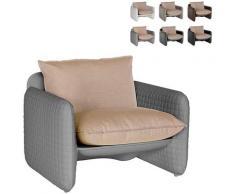 Poltrona lounge design moderno Mara trama cuoio interno esterno | Colore: Grigio - Slide