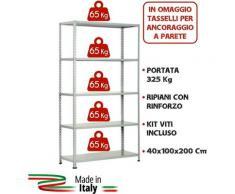 KIT SCAFFALE SCAFFALATURA METALLO 5 RIPIANI CON RINFORZO 100x40x200 GRIGIO 325Kg