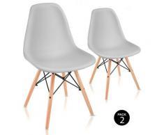 Pack 2 sedie per sala da pranzo design nordico soggiorno terrazza camera da letto grigio