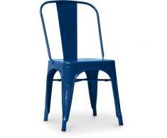 Sedia stile Tolix sedile quadrato - Nuova Edizione - Metallo Blu scuro