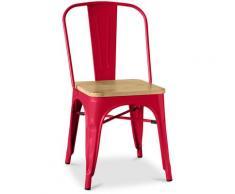 Sedia Tolix Quadrati in Legno Pauchard Style - Metallo Rosso