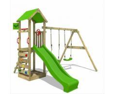 FATMOOSE Parco giochi in legno KiwiKey Giochi da giardino con altalena e scivolo mela verde Torre