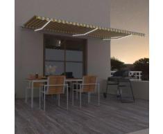 vidaXL Tenda da Sole Retrattile Manuale LED 600x300cm Gialla e Bianca - Giallo