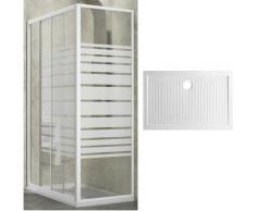 box doccia slide 2 lati cristallo serigrafato 100x80 +piatto porcellana - Ogomondo