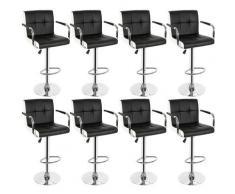 Wyctin - Sedia da bar, 8 pcs, con braccioli, cuscino a sei scomparti, interno nero e esterno bianco