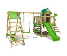 FATMOOSE Parco giochi in legno JazzyJungle Giochi da giardino con altalena SurfSwing e scivolo mela