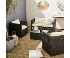 Salotto da giardino, modello: Anzio, in resina intrecciata - Nero/Ecrù - Resina cioccolato, cuscini