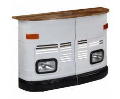 Tavolo da Bar Camion in Legno Massello di Mango Bianco
