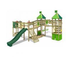 FATMOOSE Parco giochi in legno FunnyFortress Giochi da giardino con altalena e scivolo verde