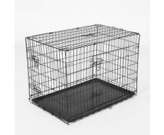 Gabbia Trasportino per Cani Gatti Pieghevole in Acciaio Doppia Apertura, 76x53x57cm Nero - Pawhut