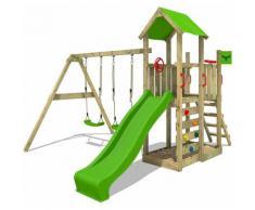 FATMOOSE Parco giochi in legno MagicMango Giochi da giardino con altalena e scivolo mela verde
