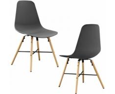 Sedia design in un set di 2 - 85,5 x 46cm - grigie - sedie sala da pranzo plastica retro