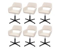 Set 6x sedie sala da pranzo HWC-A50 IV design retro acciaio nero ecopelle avorio