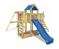 WICKEY Parco giochi in legno TwinFlyer Giochi da giardino con altalena e scivolo blu Torre