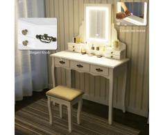 Tavolo da Trucco Viantage a Luci LED 3 mobili Toeletta con Cassetti Sgabello Imbottito bianco