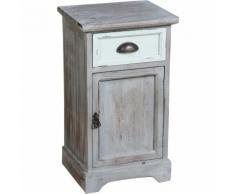 Comodino Shabby in legno di paulonia L35xPR30xH62 cm finitura grigio anticato