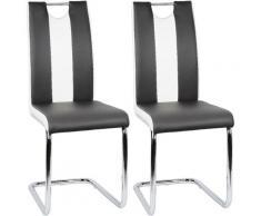 Set di 2 sedie da pranzo, nero, con struttura in metallo