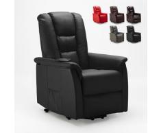 Poltrona relax reclinabile sistema alzapersona in similpelle design JOANNA FIX | Colore: Nero