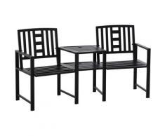 Outsunny Panchina da Giardino in Metallo con Tavolino e Foro per Ombrellone Nero