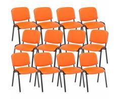 Set 12 Sedie Ufficio Visitatore Ken Imbottite In Similpelle Arancione