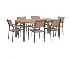 Set da giardino tavolo in teak e 6 sedie beige GROSSETO