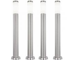 Set di 4 lampade da esterno a LED RGB CONTROLLO REMOTO Supporto Stand Pilastri in acciaio