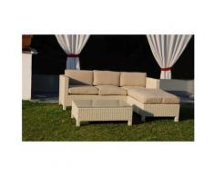 SET MALAGA LOUNGE Bianco divano 3 posti e pouf in alluminio e polyrattan