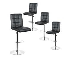 Sgabelli da bar regolabili in altezza, piano di lavoro in cucina, sedia da bar in PU nera (set di 4)