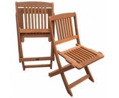 Sedia da giardino pieghevole in legno esotico Hongkong - Maple - Marrone chiato - Set di 2