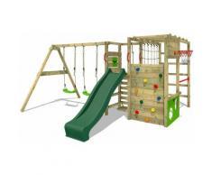 FATMOOSE Parco giochi in legno ActionArena Giochi da giardino con altalena e scivolo verde Scala