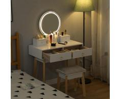 Tavolino da Trucco, Toelette con 4 Cassetti, Specchio Rotondo,Scrittoio Bianco 80x40x130cm - Oobest