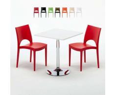 Tavolino Quadrato Bianco 70x70 cm con 2 Sedie Colorate Paris Cocktail   Rosso