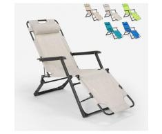 Sedia sdraio per spiaggia e giardino pieghevole multiposizione Emily Lux Zero Gravity | Grigio