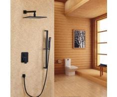 Sistema doccetta a parete con doccetta e scivolo nero 250 mm