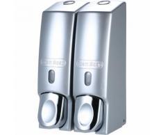 Asupermall - Dispenser di sapone, 32 argento opaco, doppia tazza