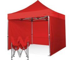 Gazebo pieghevole 3x3 rosso Exa 55mm alluminio con laterali. PVC 350g