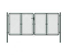 Cancello di Recinzione per Giardino in Acciaio 300x125 cm Verde - Verde - Vidaxl