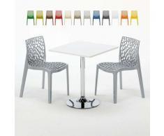 Tavolino Quadrato Bianco 70x70 cm con Base in Acciaio e 2 Sedie Colorate GRUVYER COCKTAIL | Grigio