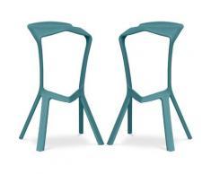 Sgabello Design Marcus - Pack di 2 Turchese