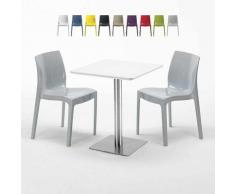 Tavolino Quadrato 60x60 cm Top Bianco con 2 Sedie Colorate Ice Hazelnut   Grigio