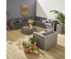 Salotto da giardino in resina intrecciata - Modello: Venezia - Colore struttura Grigio chiné,