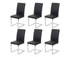 Set 6x sedie sala da pranzo design moderno HWC-F27 struttura a slitta ecopelle nero